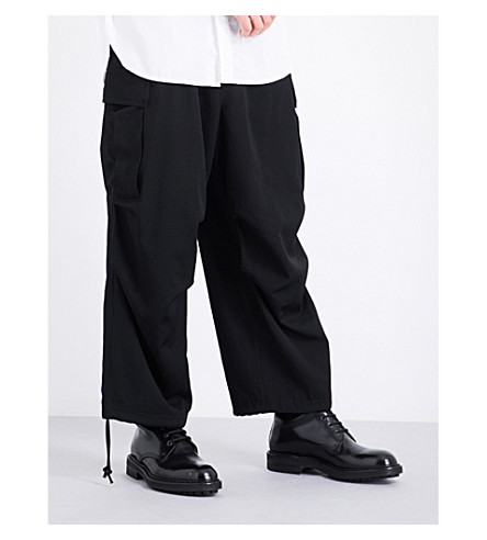 YOHJI YAMAMOTO H-Army wide dropped-crotch mid-rise wool trousers (Black