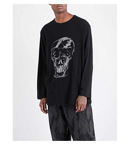YOHJI YAMAMOTO Skull-print cotton-jersey top (Black