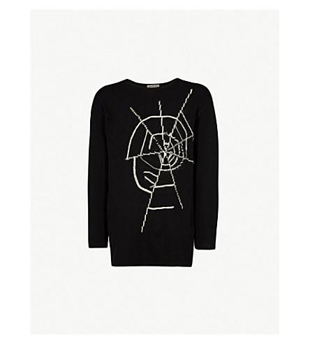 YOHJI YAMAMOTO Embroidered cotton waffle-knit sweater (Black