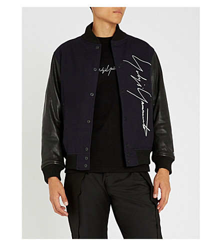 YOHJI YAMAMOTO New Era leather-sleeve wool bomber jacket