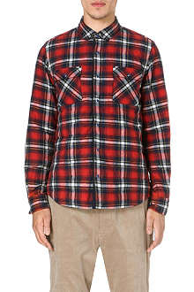 SACAI Quilted plaid flannel jacket