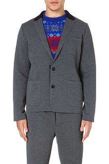 SACAI Contrast-fabric single-breasted blazer