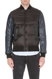 SACAI Leather-sleeve quilted bomber jacket