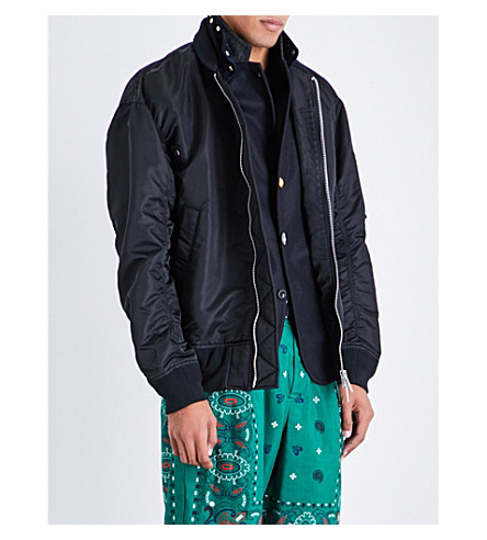 SACAI Melton stand-collar shell jacket (Black+navy