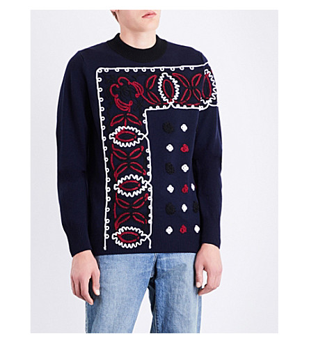 SACAI Paisley wool jumper (Navy