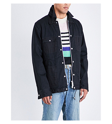 SACAI Velvet-trim embroidered denim jacket (Black