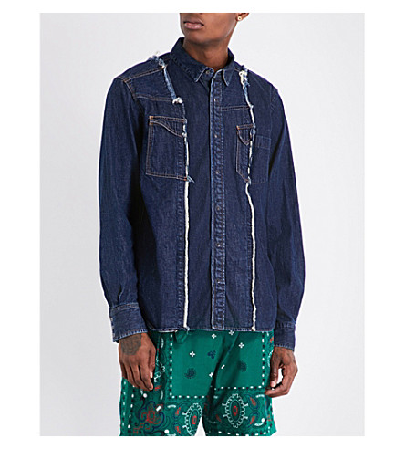 SACAI Distressed denim shirt (Navy