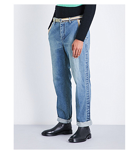 SACAI Belt-detail straight regular-fit mid-rise jeans (Blue