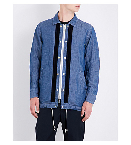 SACAI Drawstring-hem cotton and linen-blend shirt (Navy
