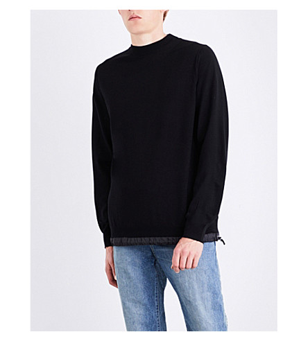 SACAI Drawstring-hem wool jumper (Black