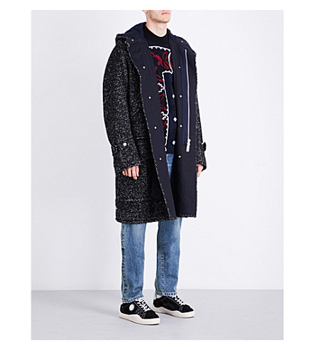 SACAI Herringbone wool-blend coat (Black+off+white