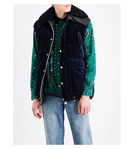 SACAI Contrast velvet jacket (Navy