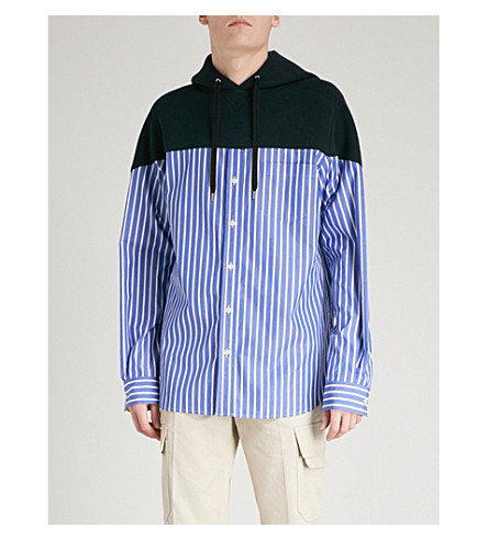 SACAI Striped cotton-blend hoody (Stripe navy