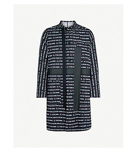 SACAI Slogan-print cotton coat (Black
