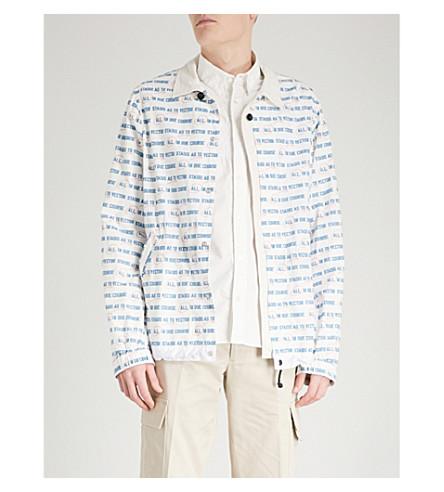 SACAI Slogan-print cotton jacket (Off+white