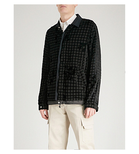 SACAI Drawstring devoré jacket (Black+black