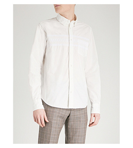 SACAI Embroidered regular-fit cotton shirt (White