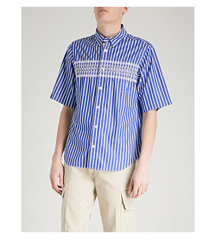 SACAI Striped embroidered regular-fit cotton shirt (Stripe