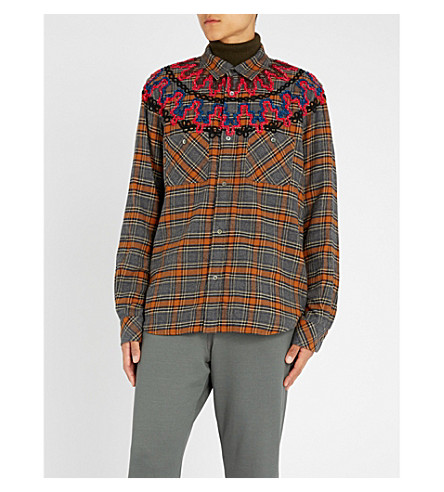 SACAI Embroidered checked brushed-cotton shirt