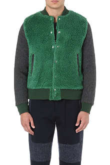 SACAI Furry patch bomber jacket