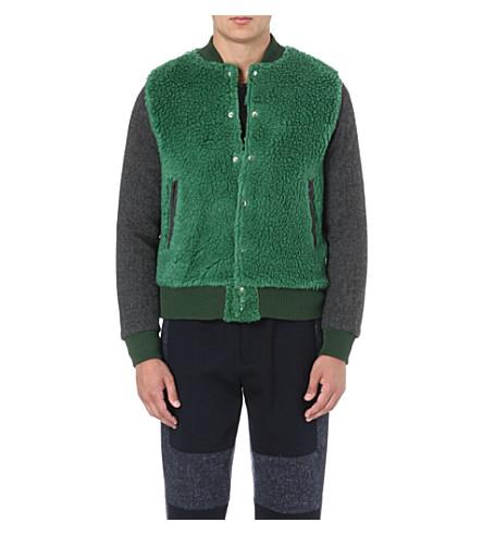 SACAI Furry patch bomber jacket (Green