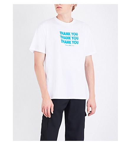 RAF SIMONS Thank you cotton-jersey T-shirt (White+blue