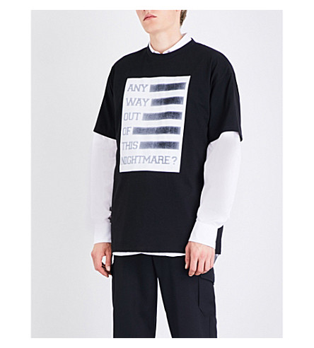 RAF SIMONS Any Way Out cotton-jersey T-shirt (Black
