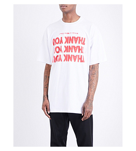 RAF SIMONS Thank you cotton-jersey T-shirt (White