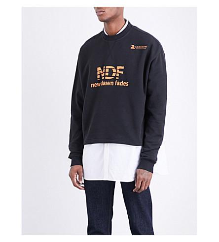 RAF SIMONS Cropped cotton-jersey sweatshirt (Black