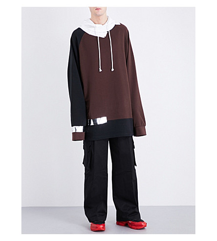 RAF SIMONS Reflective tape-detail oversized cotton-jersey hoody (Brown+black
