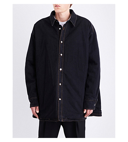 RAF SIMONS Padded denim shirt (Black