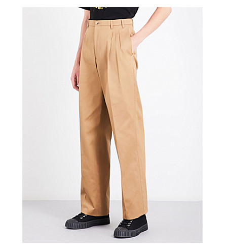 RAF SIMONS Relaxed-fit high-rise cotton chinos (Camel