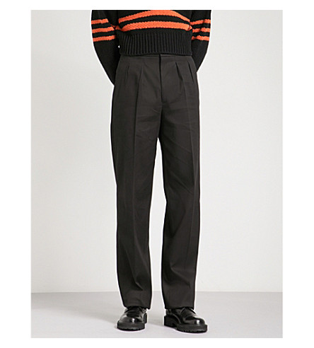 RAF SIMONS Straight high-rise cotton trousers (Black