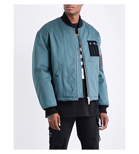 RAF SIMONS Embroidered-patch cotton-twill bomber jacket (Petrol