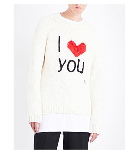 RAF SIMONS I Love You wool jumper (Off+white