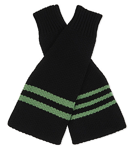 RAF SIMONS Knitted wool arm warmers (Black+green