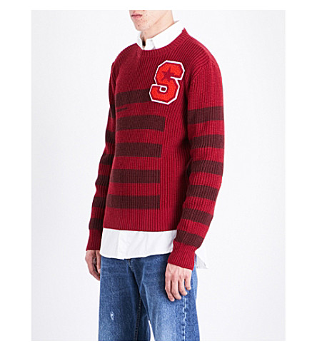 RAF SIMONS Waffle-knit wool jumper (Red+d+red