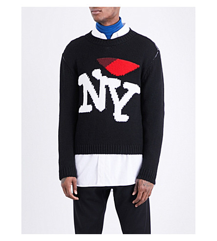 Raf Simons New York Oversized Wool Knit Sweater Black Modesens
