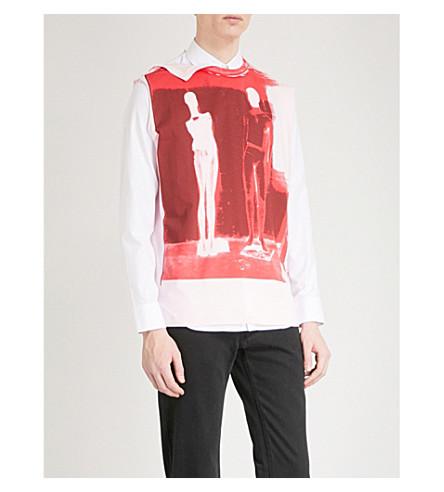 RAF SIMONS String-detail printed cotton-jersey top (Light+pink