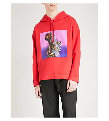 RAF SIMONS Graphic-print cotton-jersey sweatshirt (Red