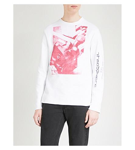 RAF SIMONS Graphic-print cotton-jersey sweatshirt (White