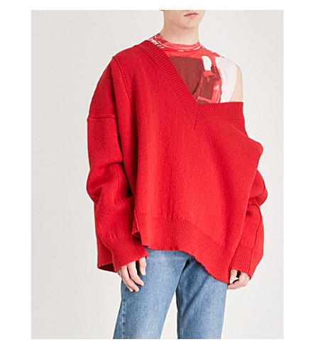 RAF SIMONS Reverse stitch oversized wool jumper (Red