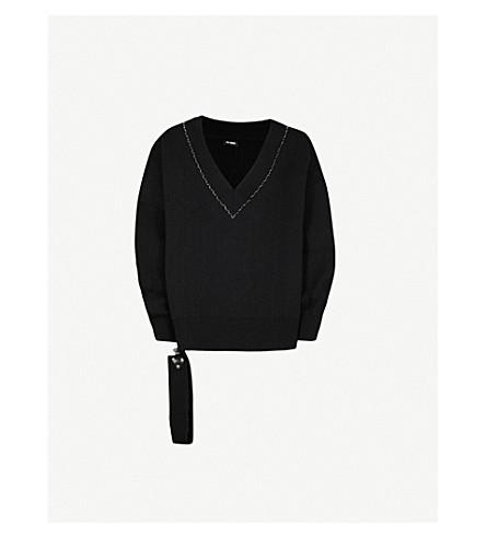 RAF SIMONS Buckle-detail oversized wool jumper (Black