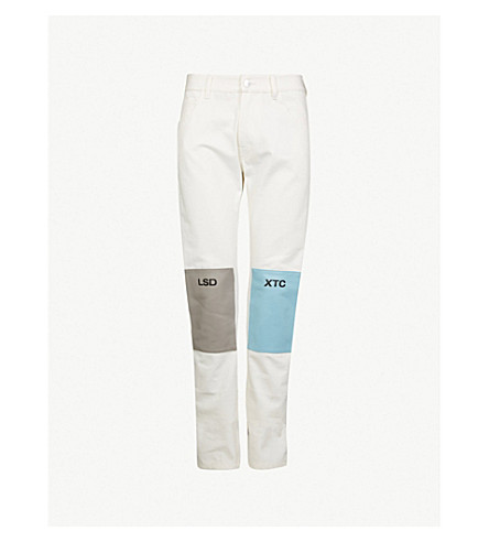 RAF SIMONS Patchwork relaxed-fit jeans (Cream grey