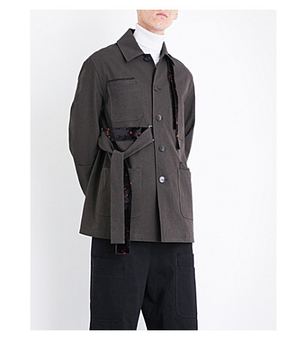 DAMIR DOMA Button-down cotton and wool-blend twill coat (Dark+moss