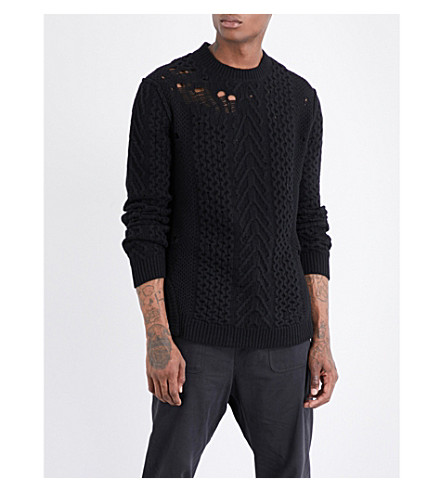 DAMIR DOMA Distressed wool jumper (Coal