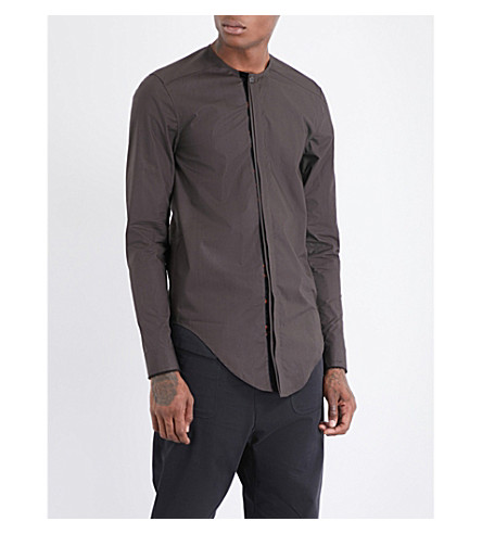 DAMIR DOMA Collarless regular-fit cotton shirt (Dark+moss