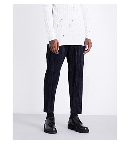 DAMIR DOMA Cropped corduroy cotton-blend trousers (Indigo