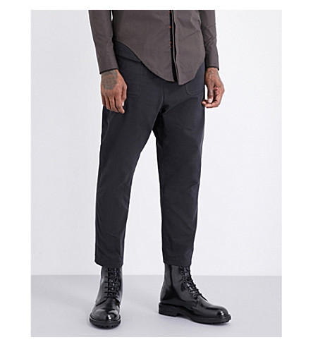 DAMIR DOMA Tapered cotton-twill trousers (Coal