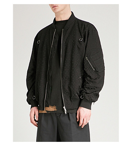 DAMIR DOMA Geometric-patterned cotton-blend bomber jacket (Coal